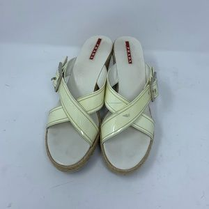 Prada auto cream patent leather wedge  sandals